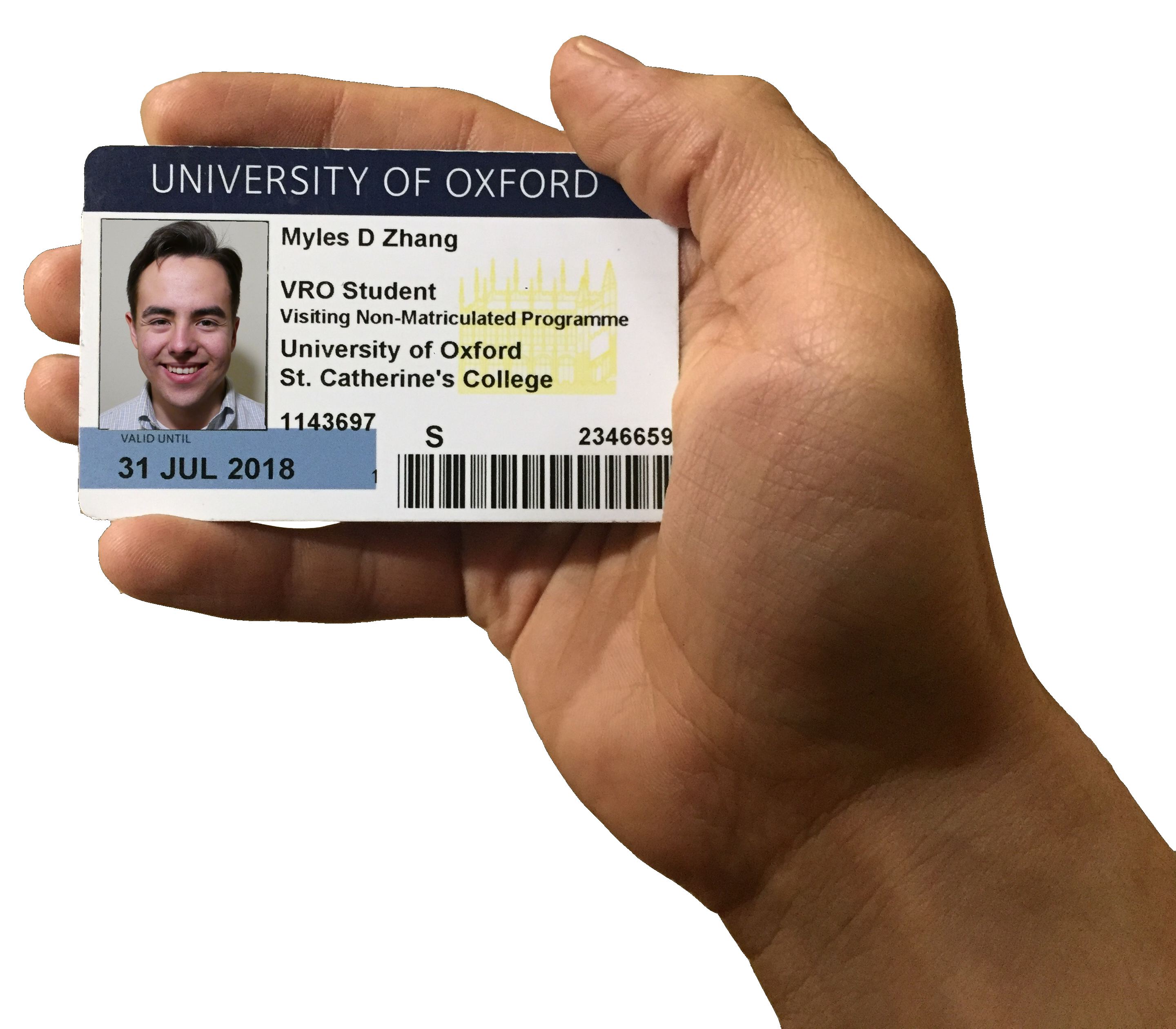 Myles Zhang Oxford ID Card